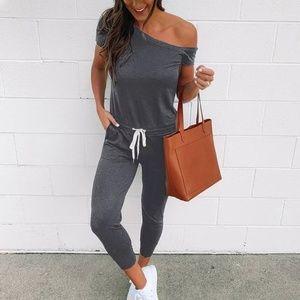 Pants - Dark Grey Off Shoulder Jumpsuit Ankle Length